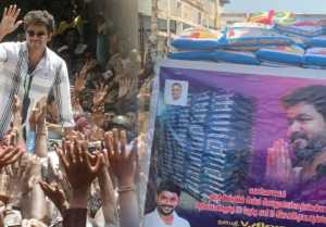 Vijay fans donates 150 rice bags to the daily wage workers