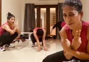 சுழட்டி சுழட்டி உடற்பயிற்சி செய்யும் நடிகை விஜயலட்சுமி, சாக்ஷி