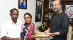 Rajini Gives Key Of The House To The Beneficiaries Who Lost House In Kaja Cyclone