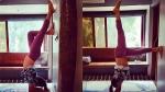 மேலாடை நழுவுவது கூட தெரியாமல் தலைகீழாக யோகா செய்த பிரபல நடிகை! வைரலாகும் போட்டோ!