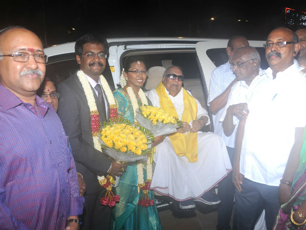 Karunanidhi, Rajini at SP Muthuraman grand-daughter marriage reception