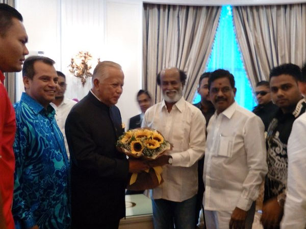 Rajini meets his ardent fan, the Governor of Malacca