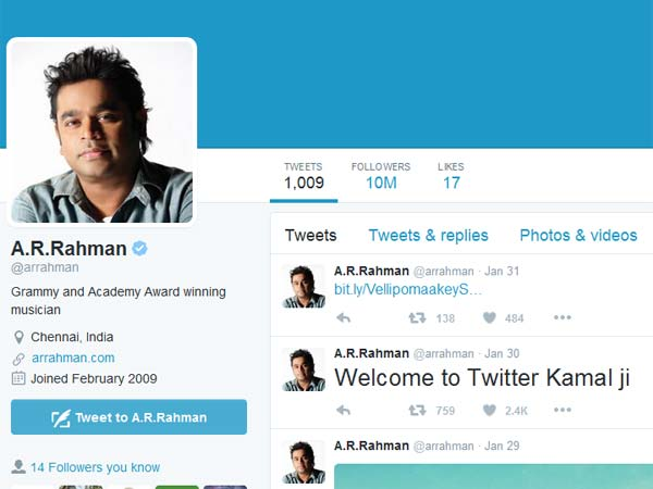 AR Rahman got one cr followers in twitter