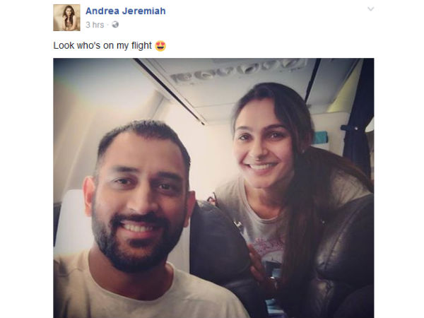 When Andrea meets MS Dhoni on flight
