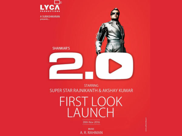 Rajini's 2.O first look on Nov 20th