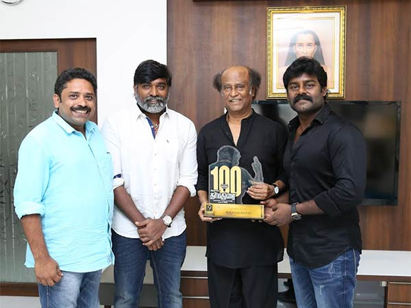 Dharmadurai crew presents 100 day shield to Rajinikanth