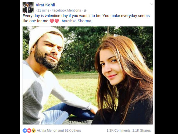 Kohli DELETES His Valentine's Day Picture With Anushka Sharma