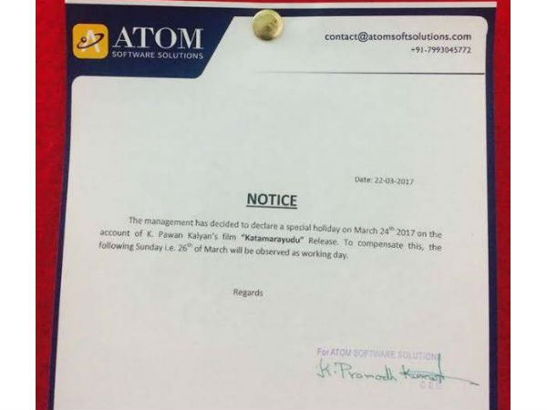 IT company declares holiday fo Thala movie release