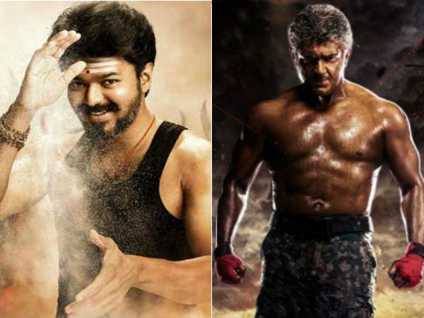What is common between Mersal and Vivegam posters?