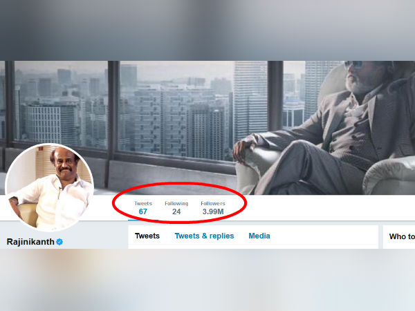 4 Millions followers to Rajini in Twitter