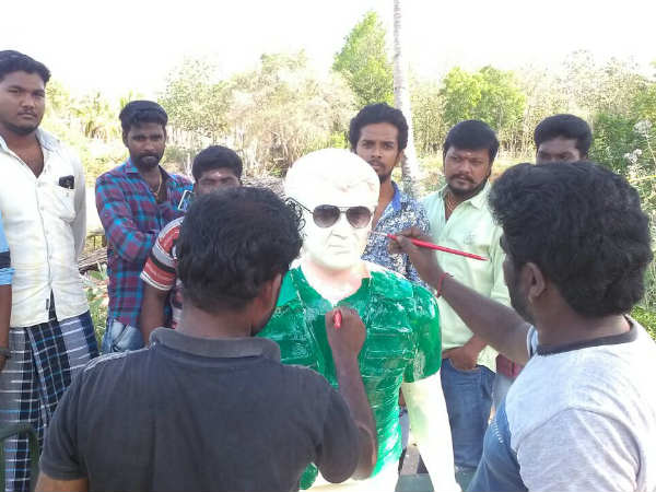 Kumbakonam fans construct a statue for Ajith