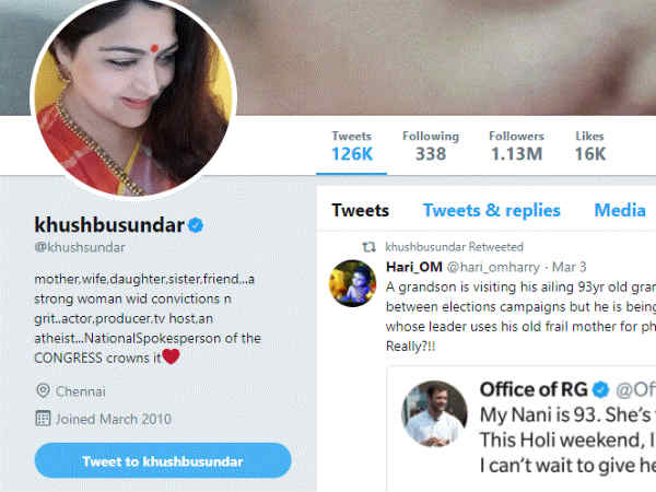 Khushbu's twitter account gets hacked