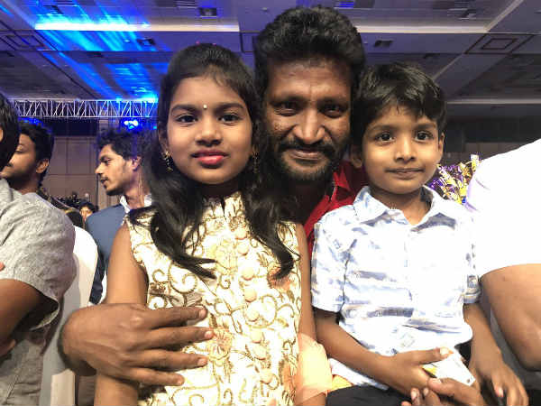 Suseenthiran with sooris son and daughter