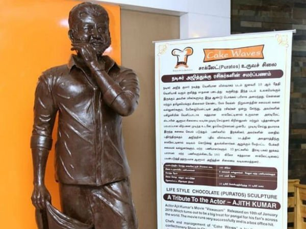 Special chocolate statue for Ajith
