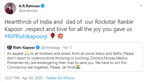 AR Rahman mourned for the loss of Rishi Kapoor