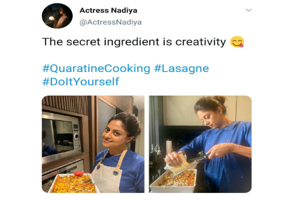 Actress Nadhiya uploades a photo of herself cooking