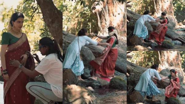 போட்டோஷூட்டின் போது திடீர் விபத்து... ஆற்றில் தடுமாறி, பாறையில் விழுந்த பிரபல நடிகை!