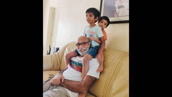 தாத்தாவின் தோள் மீது ஒய்யார ஆட்டம்... பேரக்குழந்தைகளுடன் விளையாடும் சத்யராஜ் !