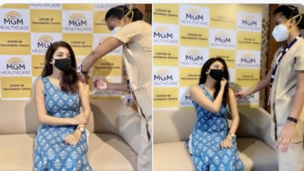 கோவிட் -19 முதல் தவணை தடுப்பூசி போட்டுக் கொண்ட ஜனனி   Actress Janani got her first dose of Covid Vaccine