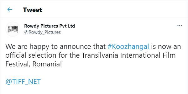 Tomorrow Koozhangal to screened in Transilvania International film festival