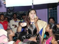 Namitha Celebrates Her Birthday An Orphanage