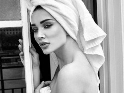 Amy Jackson Poses A Towel