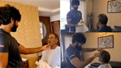 Actor Aadhi Shaving To His Dad At Home Viral Video