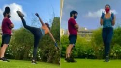 Bollywood Actress Kiara Advani Kicks Hats Off Trainer